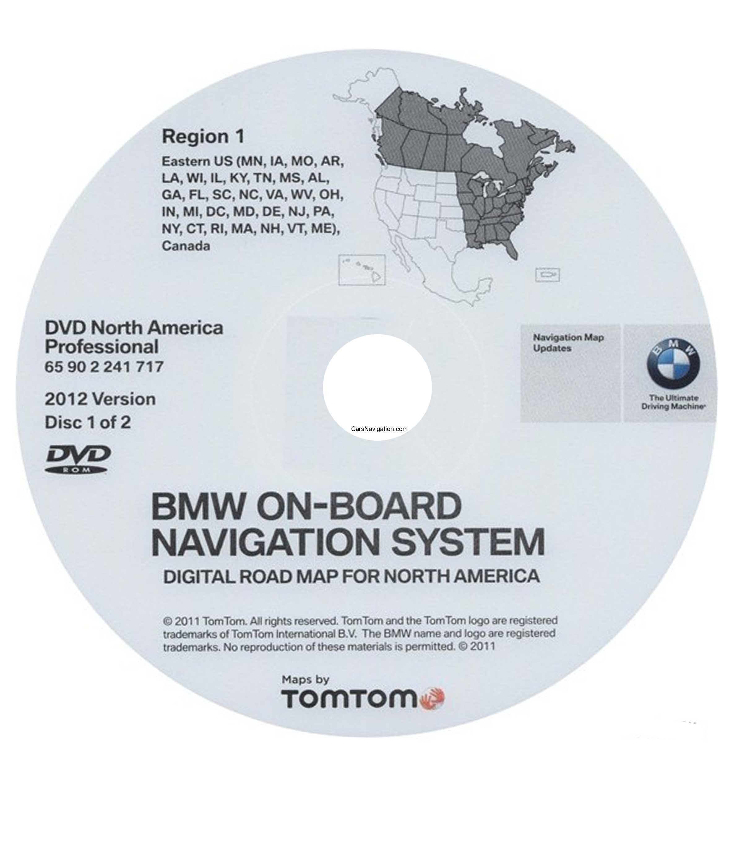 2012 BMW North American Map DVD Professional Region 1 (East) DVD ...