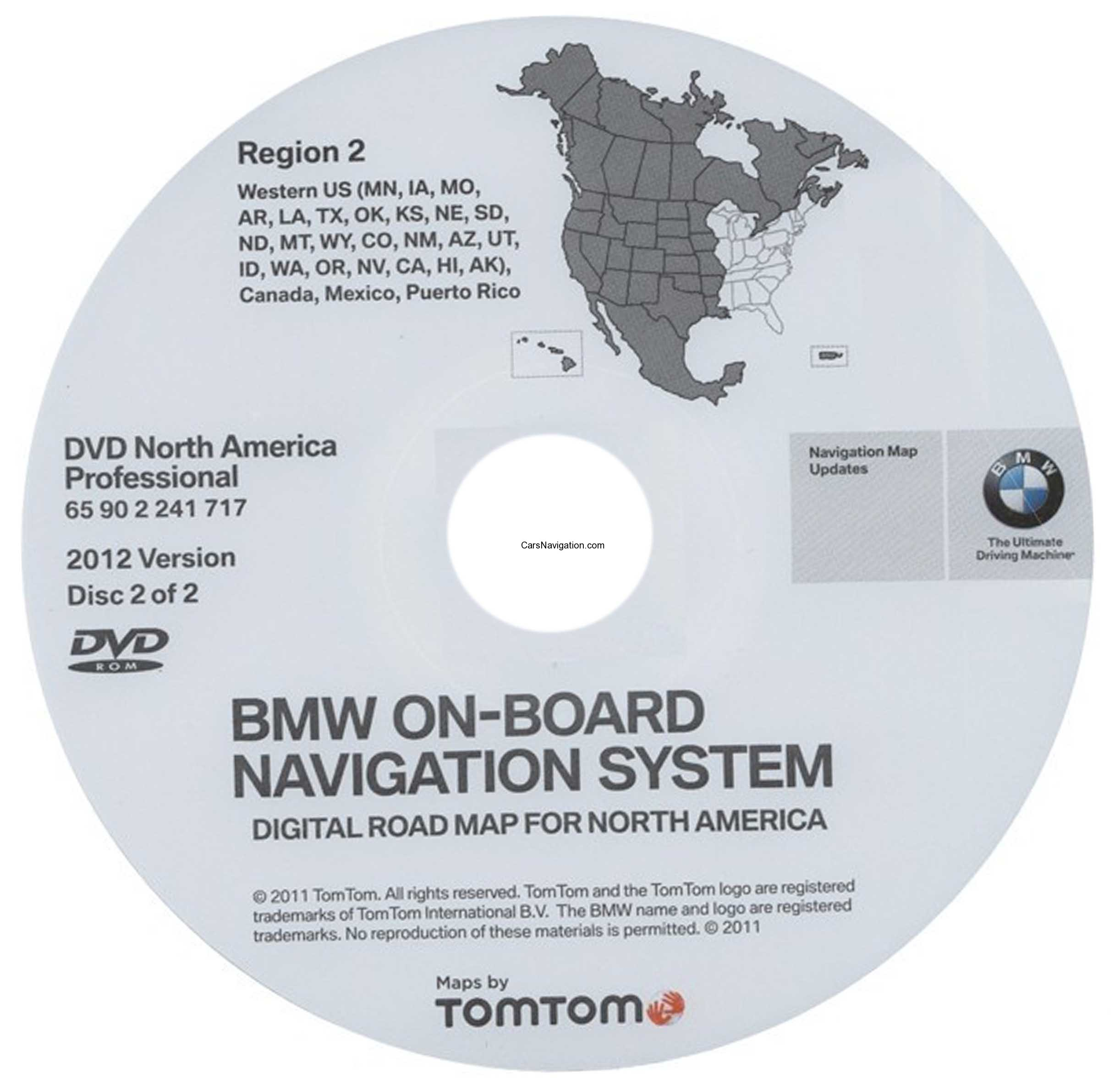 2012 Bmw North American Map Dvd Professional Region 2 West Dvd