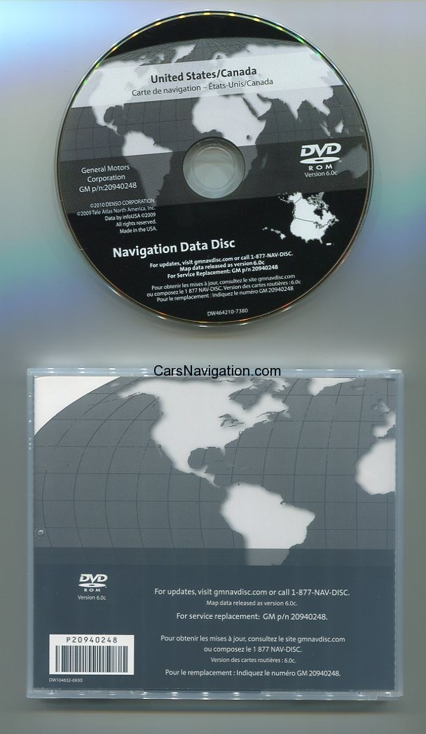 2011-2012 GM Navigation DVD America and Canada v6.0c NO.20940248 ...
