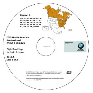 2011 BMW North American Map DVD Professional